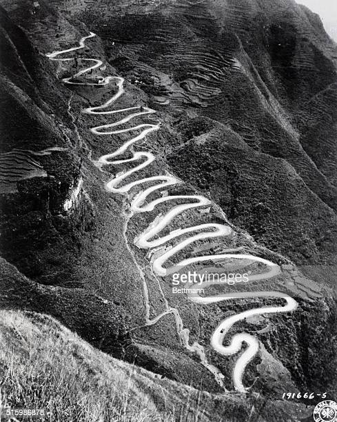 This section of the Burma road taken by US Army Signal Corps photographer in the ChinaBurmaIndia Theater contains 24 switchbacks June 1944 US Army...