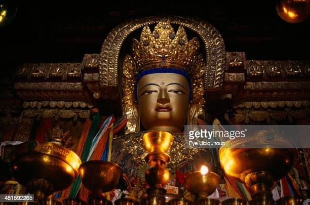 China Tibet Gyantse Butter lamps and a statue of Sakyamuni the present Buddha in Pelkor Chode Monastery