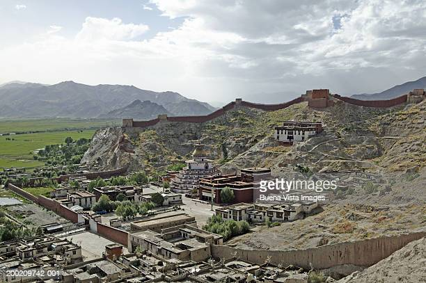 china, tibet, gyantse, pelkor chode monastery, elevated view - chode picture stock photos and pictures