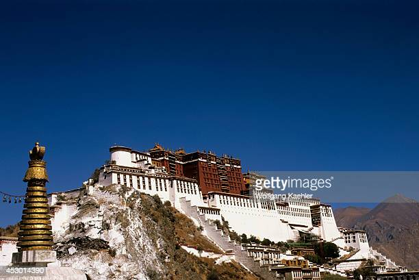 China Tibet Lhasa View Of Potala Stupa In Foreground
