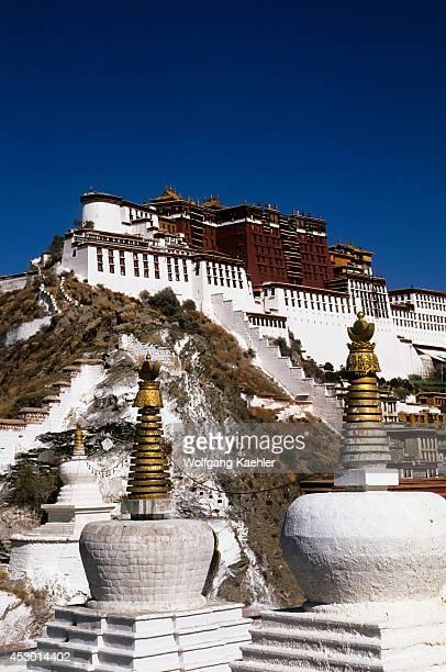China Tibet Lhasa View Of Potala Stupas In Foreground