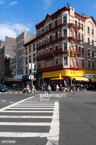 China Town streets and crosswalk Manhattan New York City USA