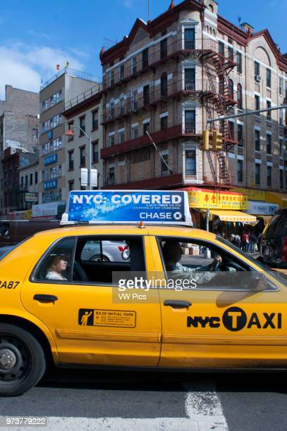 China Town streets and taxi Manhattan New York City USA