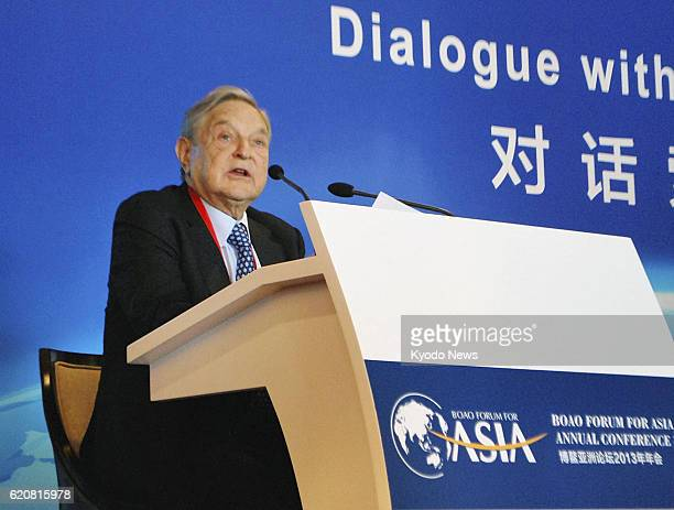 BOAO China US hedge fund investor George Soros speaks at the Boao Forum for Asia in the resort town of Boao in southern China's Hainan Province on...
