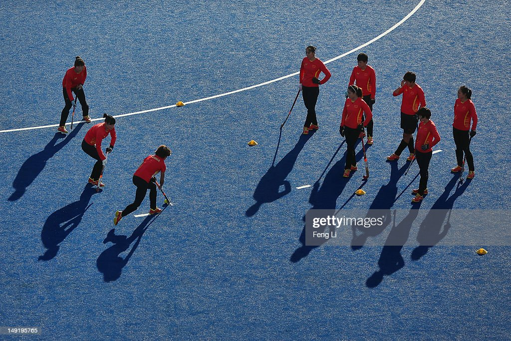 China women's field hockey team practice during a training session ahead of the London Olympic Games at at Riverbank Arena on July 24, 2012 in London, England.