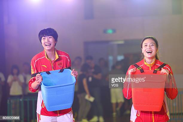 China Women's Volleyball players Yuan Xinyue and Wei Qiuyue interact with fans during their visit Alibaba Group's Xixi Campus on September 14 2016 in...
