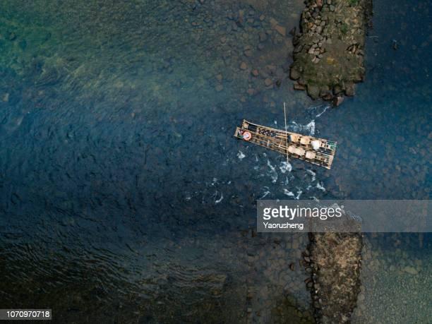China Wuyi lake bamboo rafting,aerial view