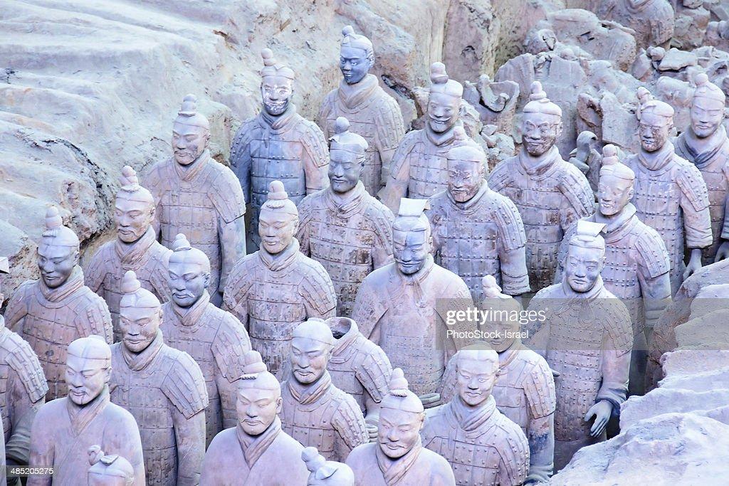 China, Xian Shaanxi, Army of Terracotta Warriors in Emperor Qin Shi Huang's Tomb : Stock Photo