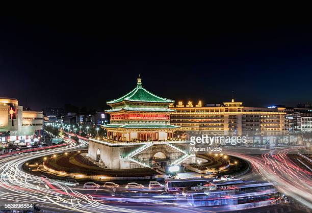 China, Xian, the Bell Tower at night
