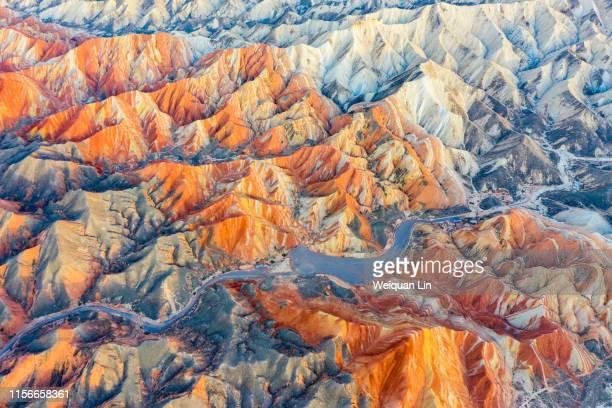 china zhangye colorful danxia natural scenery - ジオパーク ストックフォトと画像