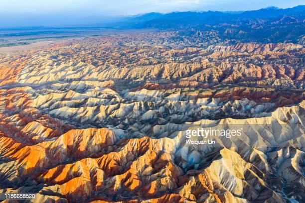 china zhangye colorful danxia natural scenery - 丹霞地形 ストックフォトと画像