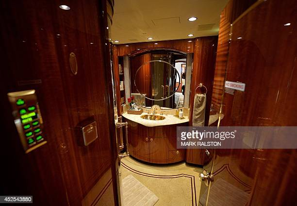 ChinaaviationluxurylifestyleFEATURE by Bill SAVADOVE This photo taken on on April 14 2014 shows a luxury bathroom on an Airbus A319 private business...