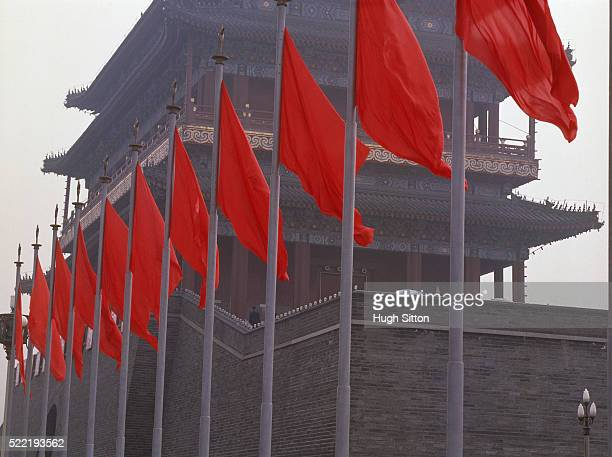 china/beijing: flags on the place of heavenly peace - hugh sitton stock pictures, royalty-free photos & images