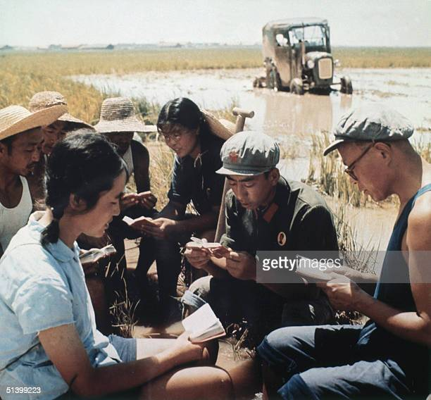 Chinese peasants study in 1971 somewhere in China the copies of Mao Zedong Little Red Book Mao who was Chairman of the Chinese Communist Party from...