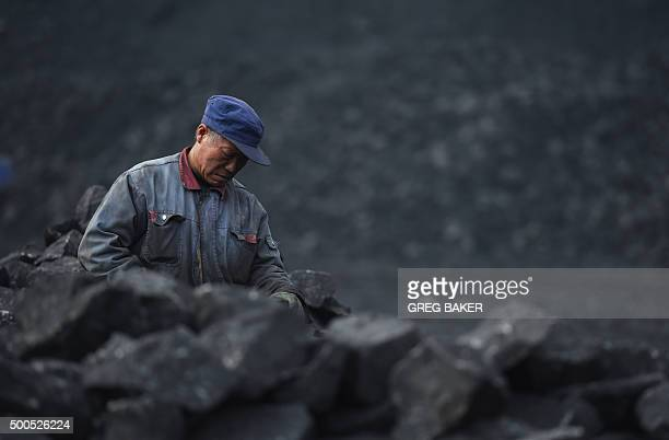 ChinaeconomyenvironmentcoalclimateFOCUS by Tom HANCOCK In this photo taken on November 20 a worker sorts coal on a conveyer belt near a coal mine at...