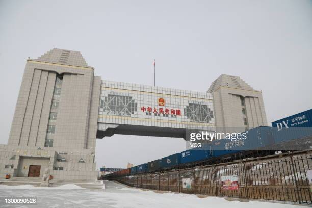 China-Europe freight train passes through China-Russia border on January 29, 2021 in Manzhouli, Inner Mongolia Autonomous Region of China.