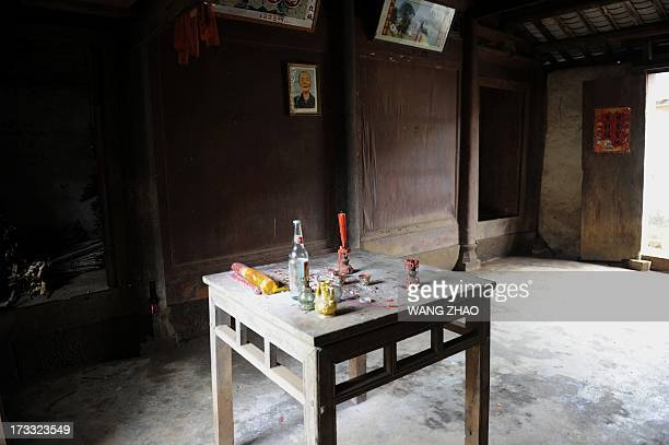 ChinahealthpeopleageingsocialFEATURE This picture taken on January 22 2013 shows a altar in the house of Liu Yuhua one hundred and five year old...