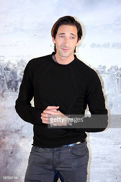 ChinaJapanhistoryfilmFOCUS by Sebastien Blanc This picture taken on November 25 2012 shows US actor and film producer Adrien Brody posing at the...