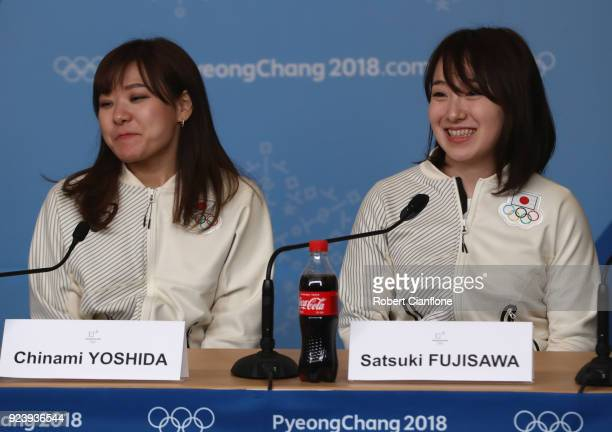 Chinami Yoshida and Satsuki Fujisawa of Japan are seen during a Japan Women's Curling team press conference on day sixteen of the PyeongChang 2018...