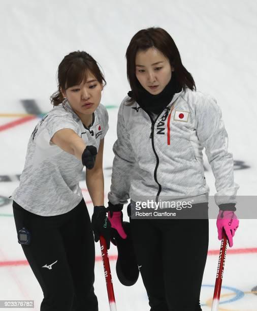 Chinami Yoshida and Satsuki Fujisawa of Japan talk during the Women's Semi Final match between Korea and Japan on day fourteen of the PyeongChang...