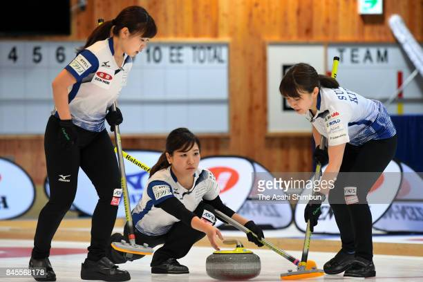 Chinami Yoshida delivers the stone in the 4th end during Game three of the Japan Women's Curling Olympic Qualifier between LS Kitami and Chubu...