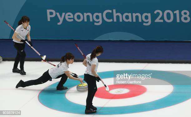 Chinami Yoshida of Japan competes during the Women's Semi Final match between Korea and Japan on day fourteen of the PyeongChang 2018 Winter Olympic...