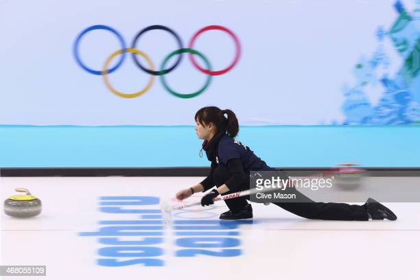 Chinami Yoshida of Japan in action during curling training on day 2 of the Sochi 2014 Winter Olympics at the Ice Cube Curling Centre on February 9,...