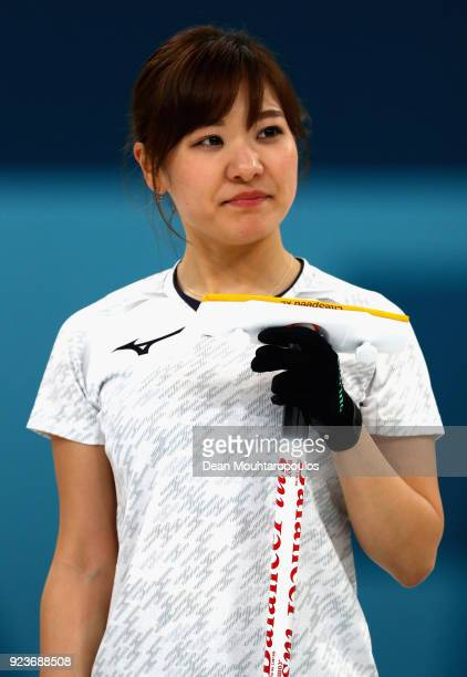 Chinami Yoshida of Japan looks on during the Curling Womens' bronze Medal match between Great Britain and Japan on day fifteen of the PyeongChang...