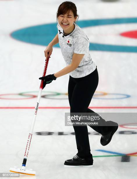 Chinami Yoshida of Japan reacts during the Curling Womens' bronze Medal match between Great Britain and Japan on day fifteen of the PyeongChang 2018...