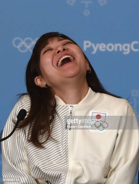 Chinami Yoshida of Japan speaks to the media during a Japan Women's Curling team press conference on day sixteen of the PyeongChang 2018 Winter...