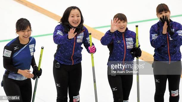 Chinami Yoshida, Satsuki Fujisawa, Yuumi Suzuki and Yurika Yoshida of Loco Solare Kitami celebrates winning the women's championship during the day...