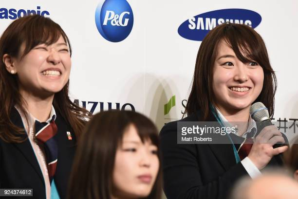 Chinami Yoshida speaks during the PyeongChang Winter Olympic Games Japan Team press conference on February 26, 2018 in Tokyo, Japan.