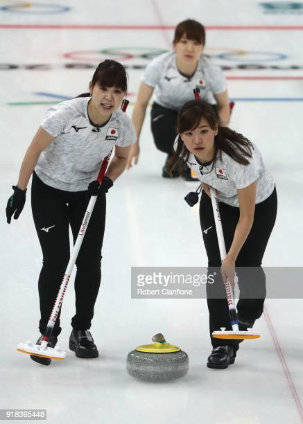 Chinami Yoshida, Yurika Yishida and Yumi Suzuki of Japan compete in the Curling Women's Round Robin Session 2 held at Gangneung Curling Centre on...