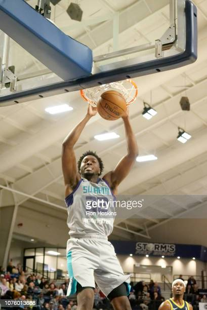 Chinanu Onuaku of the Greensboro Swarm jams on the Fort Wayne Mad Ants on December 30, 2018 at MTI Center in Angola, Indiana. NOTE TO USER: User...
