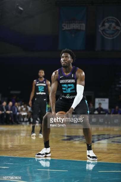 Chinanu Onuaku of the Greensboro Swarm shoots free throws underhanded against the Delaware Blue Coats in Greensboro North Carolina NOTE TO USER User...