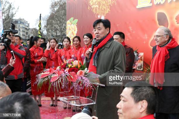 China's ambassador in France Zhai Jun celebrate the Chinese Lunar New Year on February 10 in the place de la Republique in the French capital Paris...