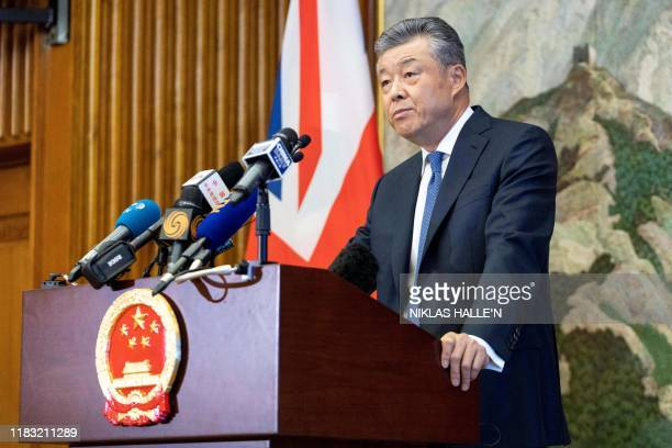 China's ambassador to Britain Liu Xiaoming speaks to members of the media during a press conference relating to continuing unrest in Hong Kong at the...