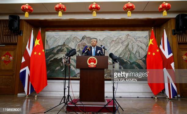 China's ambassador to Britain Liu Xiaoming speaks to members of the media at the Chinese Embassy in London on February 6 during a press conference...