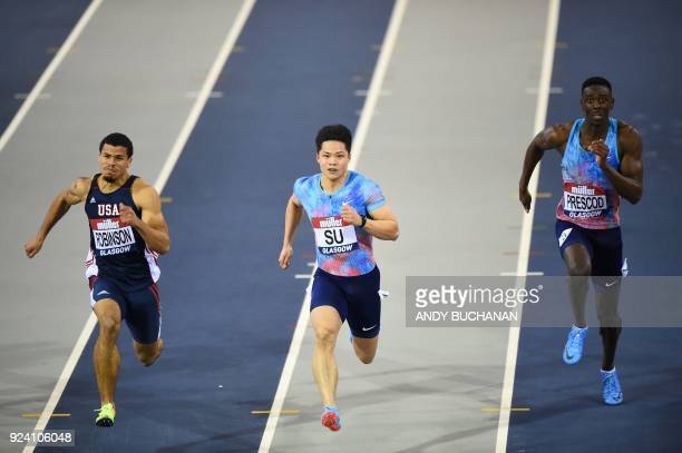 China's Bingtian Su wins his heat in the men's 60metres ahead of USA's Bryce Robinson and Britain's Reece Prescod at the Glasgow Indoor Grand Prix...