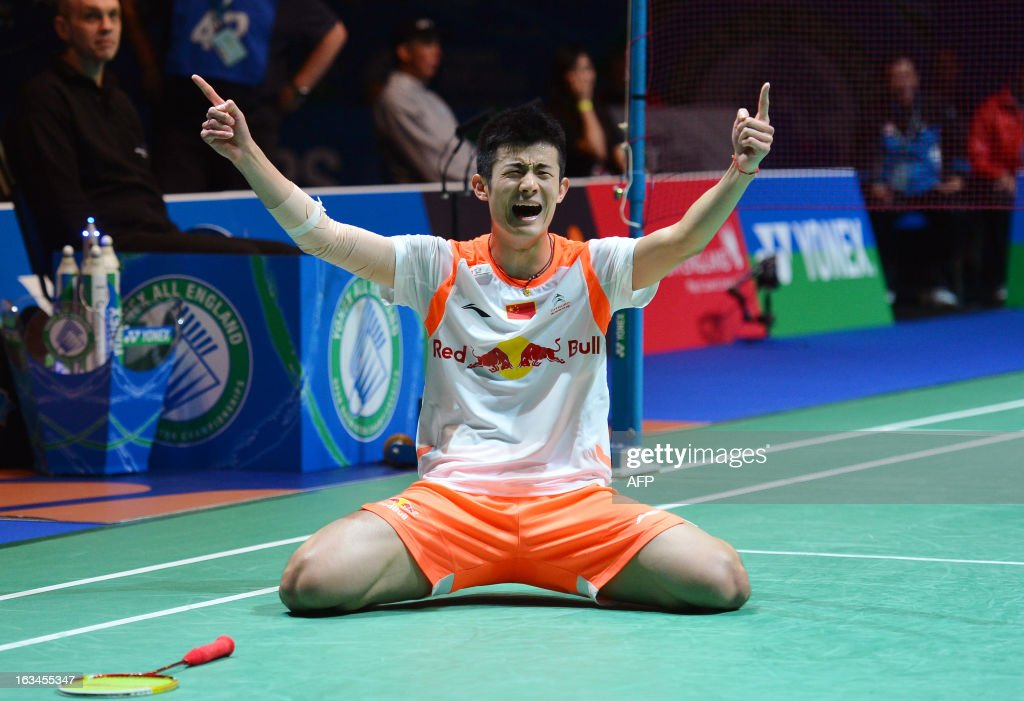 China's Chen Long reacts after winning the All England Open Badminton Championships men's singles final match against Malaysia's Lee Chong Wei in Birmingham, central England, on March 10, 2013.