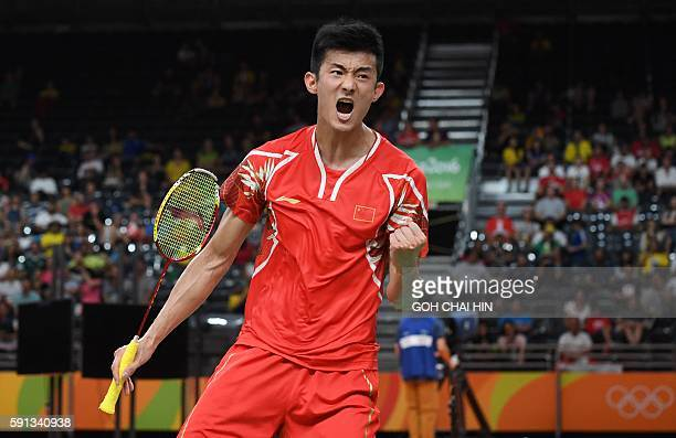 China's Chen Long reacts against South Korea's Son Wan Ho during their men's singles quarter-final badminton match at the Riocentro stadium in Rio de...
