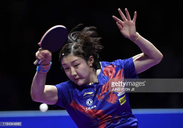 China's Chen Meng returns the ball against compatriot Ding Ning during the women's singles final match at 2019 ITTF World Tour Korea Open table...