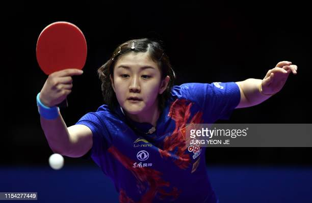 China's Chen Meng returns the ball in the women's singles table tennis semifinal match against China's Wang Manyu during the 2019 ITTF World Tour...