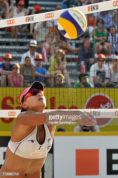 China's Chen Xue controls the ball during the AntonelliAgatha v XueZhang Xi game as part of the FIVB Gstaad Grand Slam fourth day on July 12 2013 in...