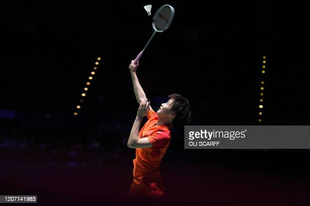 China's Chen Yu Fei plays a return to Japan's Nozomi Okuhara during their All England Open Badminton Championships womens singles semi-final match in...