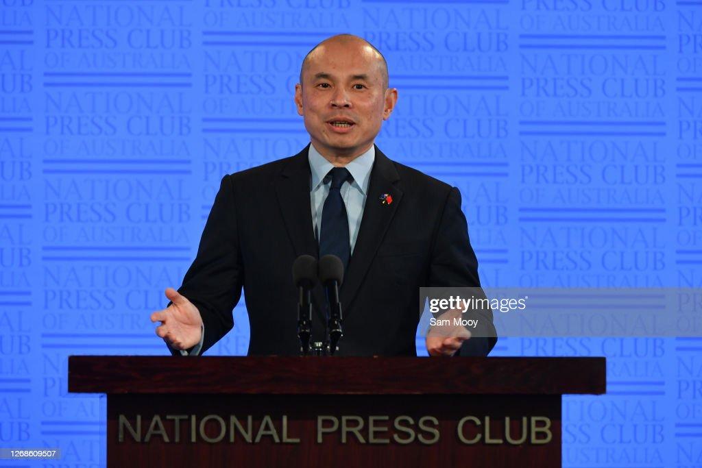 China's Deputy Head of Mission Minister Wang Xining Gives Press Club Address : News Photo
