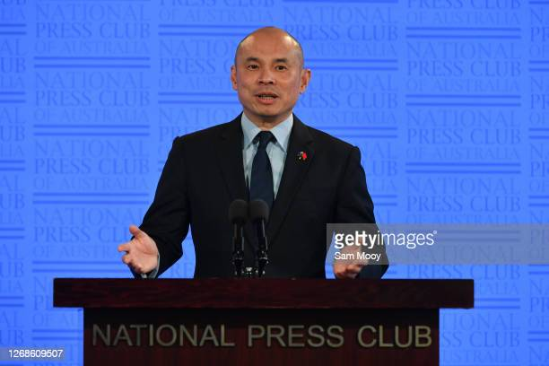 China's Deputy Head of Mission, Minister Wang Xining at the National Press Club on August 26, 2020 in Canberra, Australia. Minister Wang Xining is...