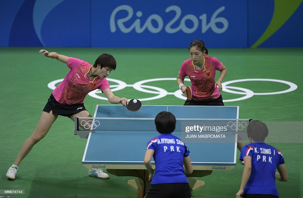 TABLE TENNIS-OLY-2016-RIO-CHN-PRK : News Photo