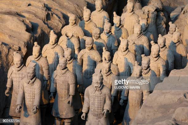 China's famous terracotta warriors are pictured during a visit by French President Emmanuel Macron and his wife in the northern Chinese city of Xian...