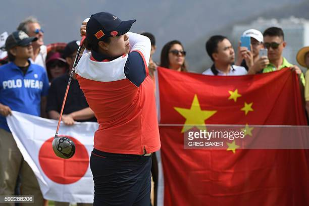 China's Feng Shanshan competes in the final day of the Women's individual stroke play at the Olympic Golf course during the Rio 2016 Olympic Games in...